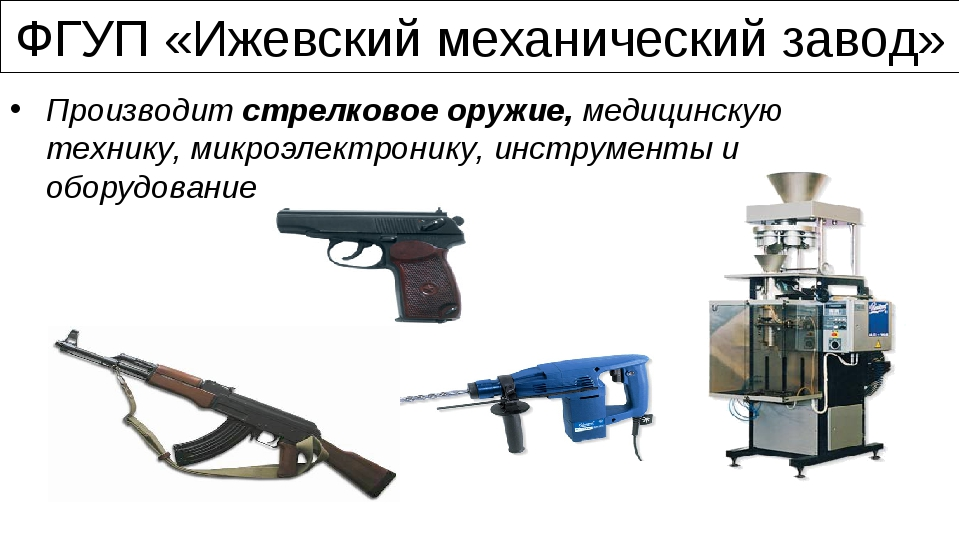 ФГУП «Ижевский механический завод» Производит стрелковое оружие, медицинскую...
