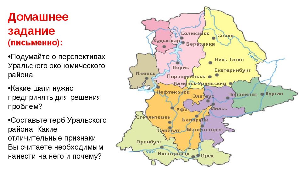 Домашнее задание (письменно): Подумайте о перспективах Уральского экономическ...