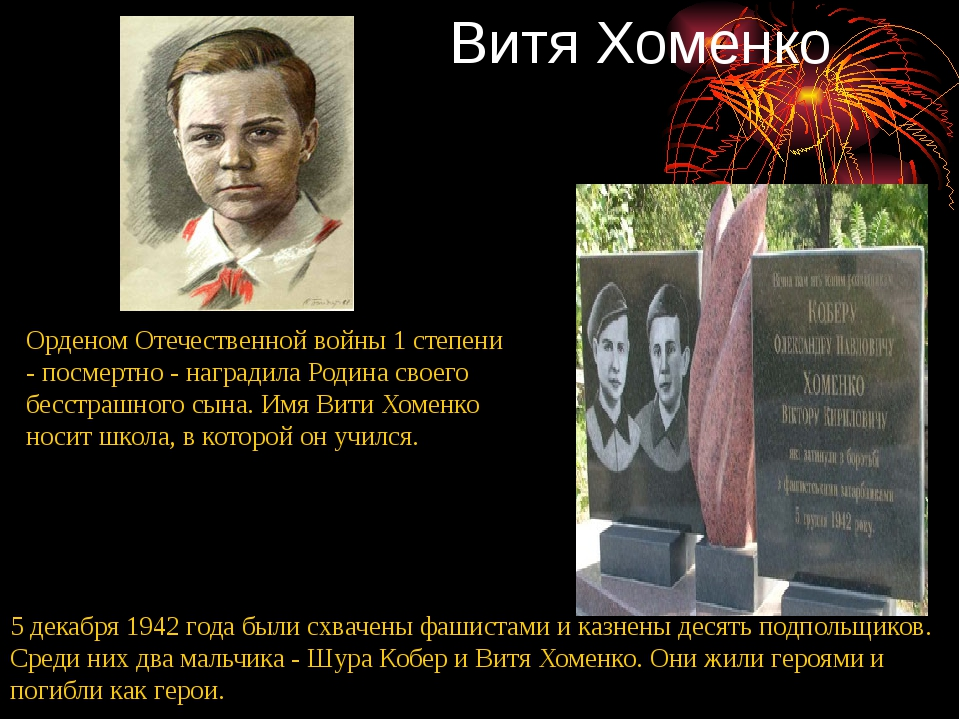 Витя Хоменко 5 декабря 1942 года были схвачены фашистами и казнены десять под...