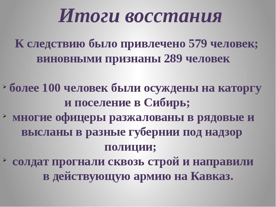 Итоги восстания К следствию было привлечено 579 человек; виновными признаны 2...