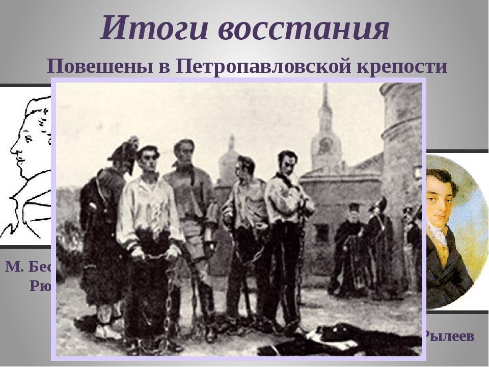 Итоги восстания Повешены в Петропавловской крепости М. Бестужев- Рюмин П. Ках...