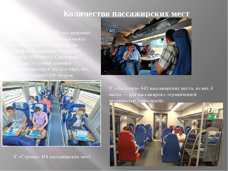 У «Ласточки» 443 пассажирских места, из них 4 места — для пассажиров с ограни...