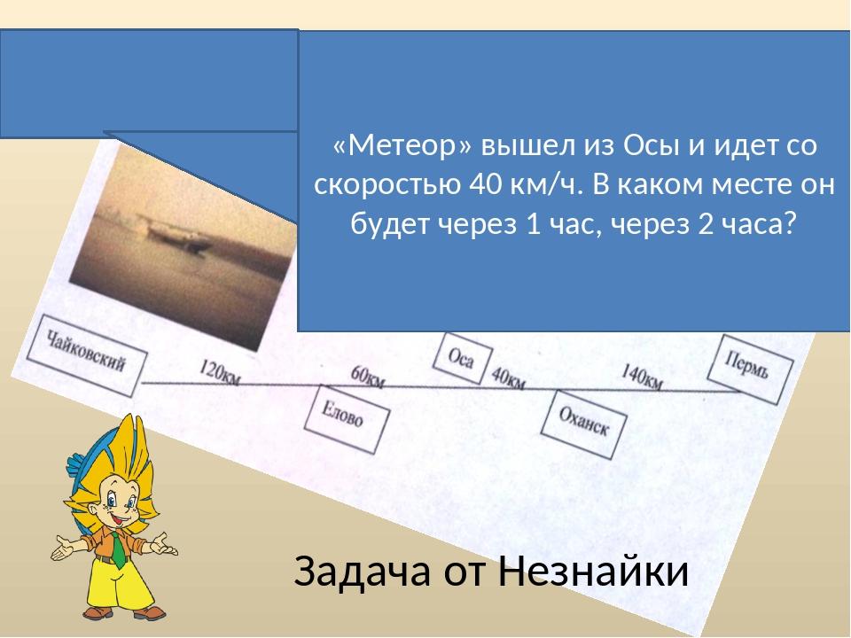 «Метеор» вышел из Осы и идет со скоростью 40 км/ч. В каком месте он будет че...
