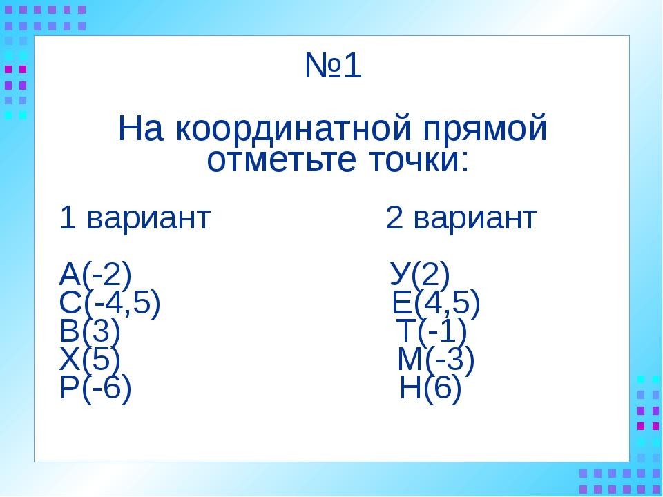 №1 На координатной прямой отметьте точки: 1 вариант 2 вариант А(-2) У(2) С(-4...