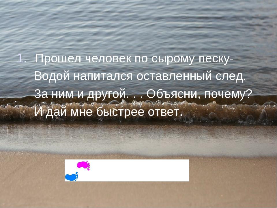 Почемучки – стишочки – всего четыре строчки. Прошел человек по сырому песку-...