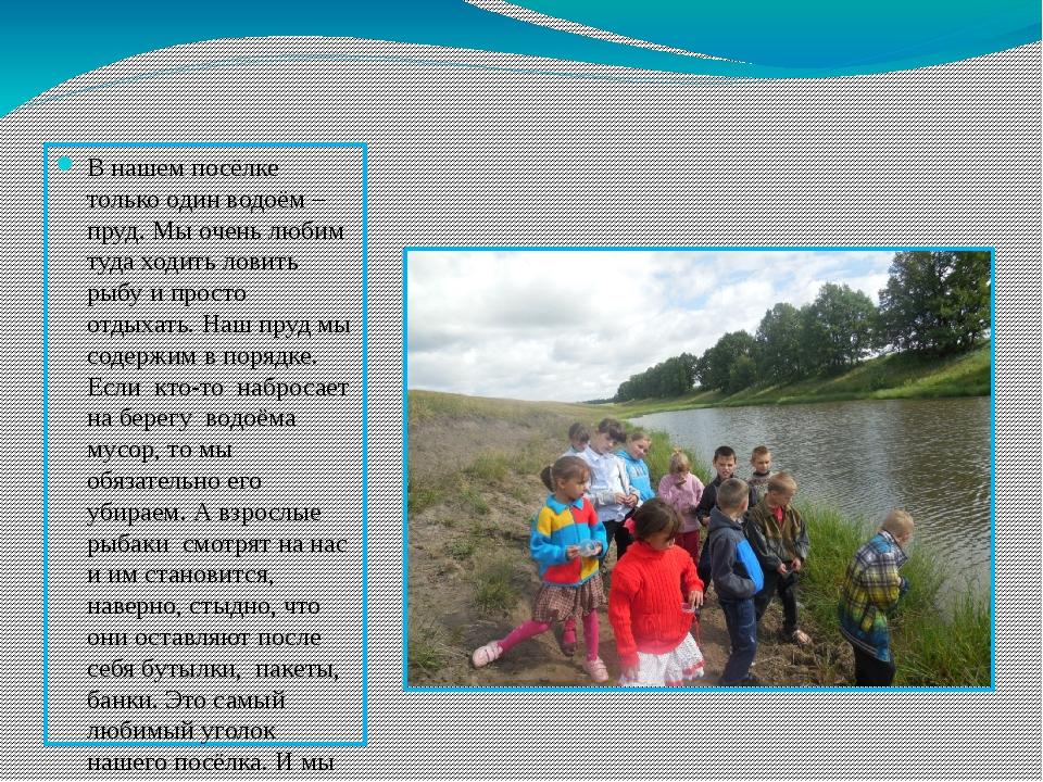 Гибель водоёмов В нашем посёлке только один водоём – пруд. Мы очень любим ту...