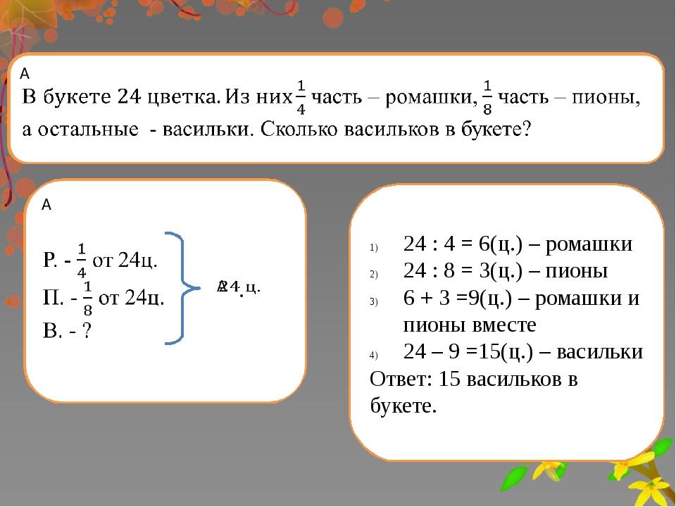 Вспоминаем то, что знаем 24 : 4 = 6(ц.) – ромашки 24 : 8 = 3(ц.) – пионы 6 +...