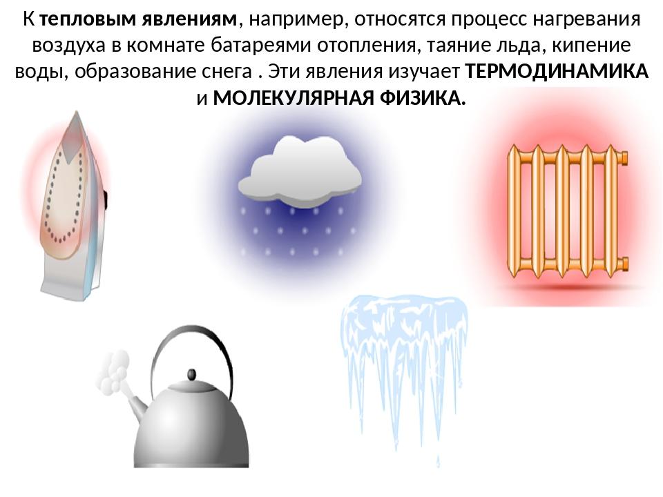 К тепловым явлениям, например, относятся процесс нагревания воздуха в комнате...