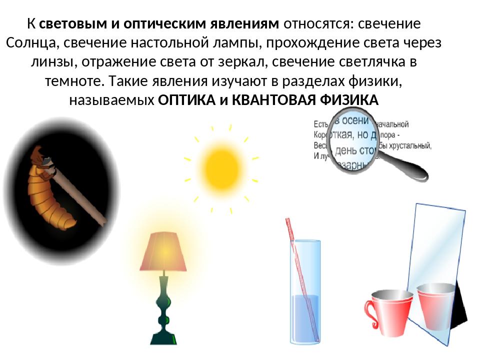 К световым и оптическим явлениям относятся: свечение Солнца, свечение настоль...