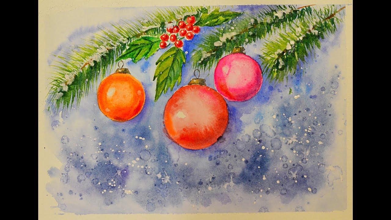 Пожеланием любимому, новогодняя открытка с краской
