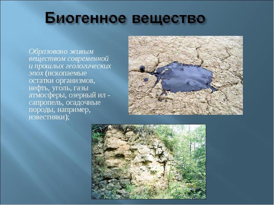 Образовано живым веществом современной и прошлых геологических эпох(ископае...