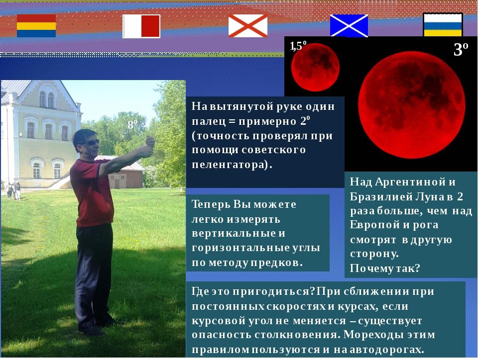 При наличии Полярной Звезды и горизонта измерив пальцами вертикальный угол,...