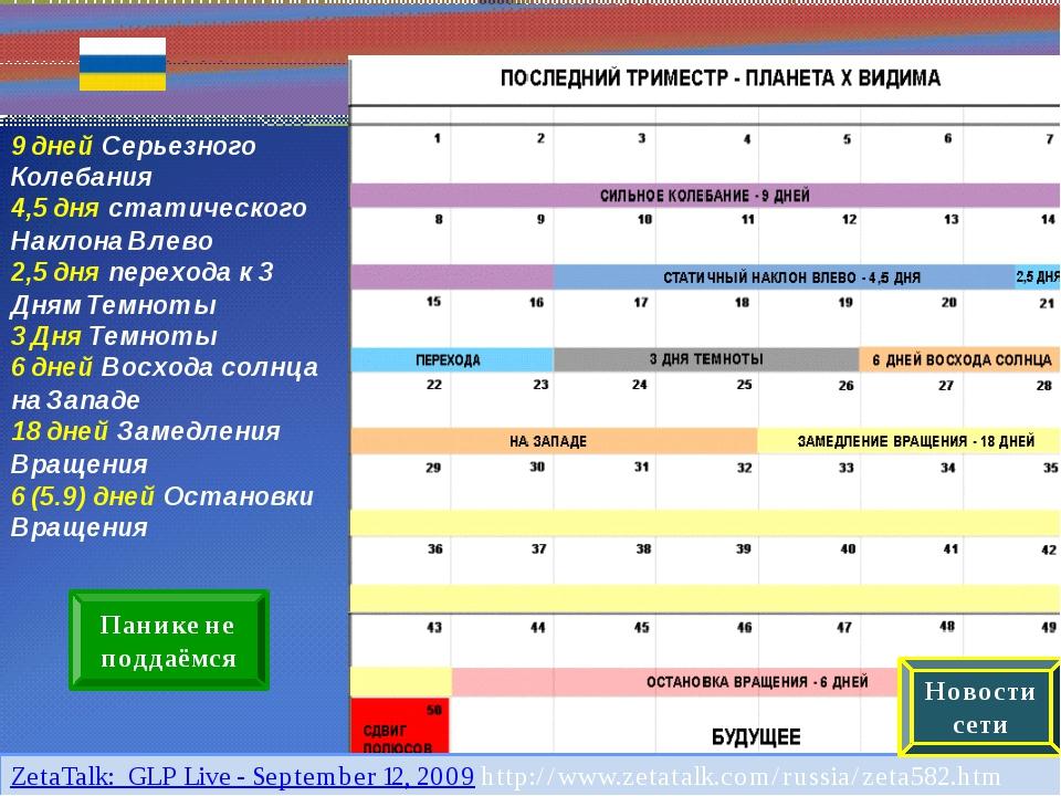http://www.zetatalk.com/russia/zeta582.htm 9 дней Серьезного Колебания 4,5 д...