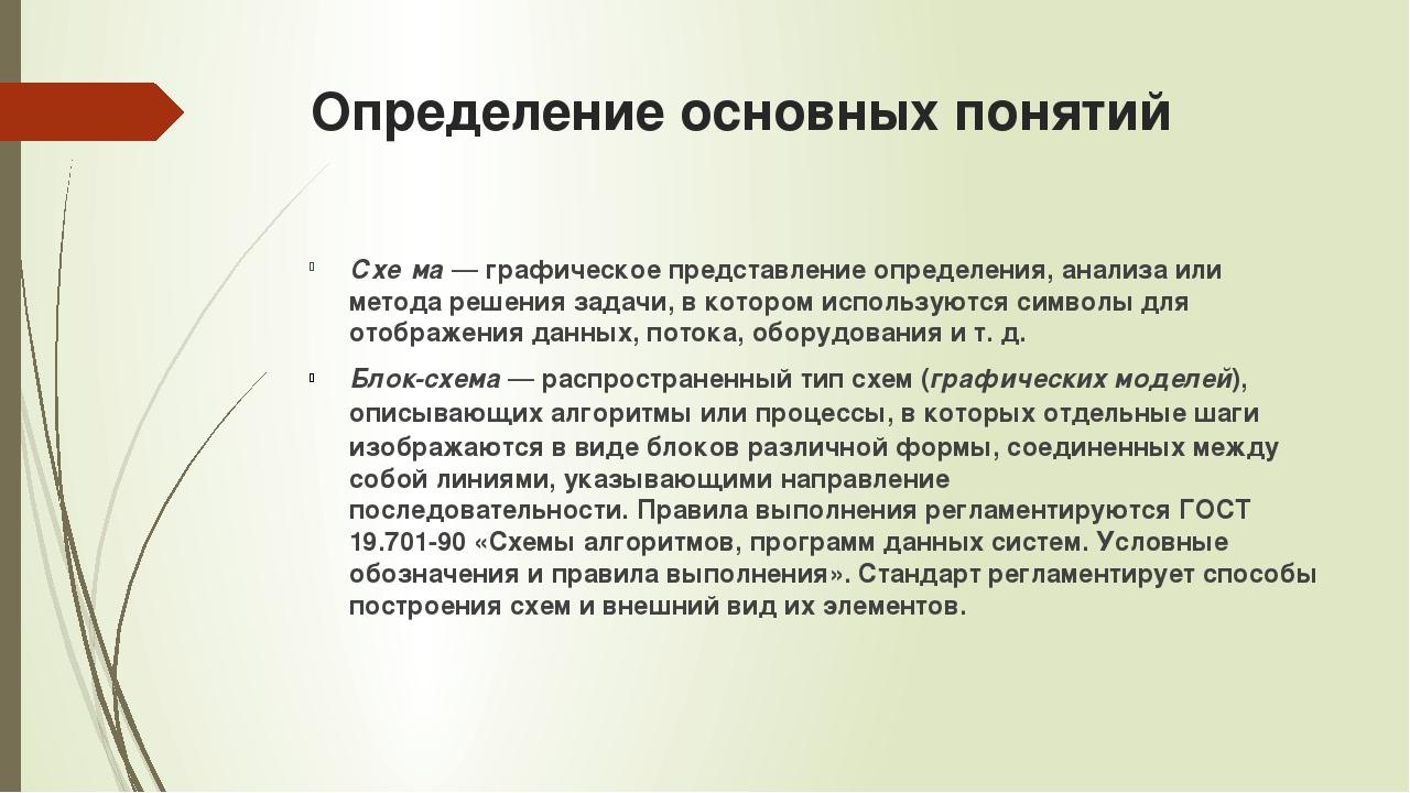 Определение основных понятий Схе́ма— графическое представление определения,...