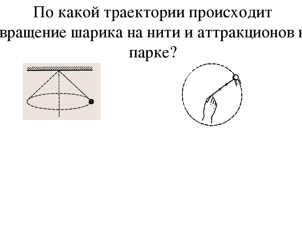 По какой траектории происходит вращение шарика на нити и аттракционов в парке?