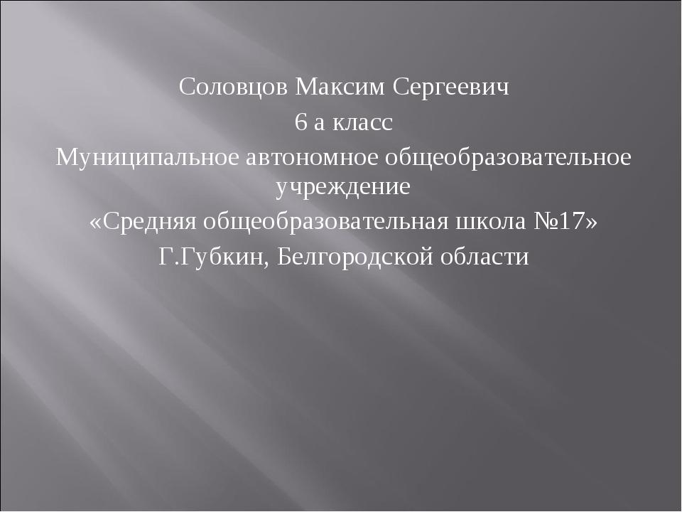 Соловцов Максим Сергеевич 6 а класс Муниципальное автономное общеобразователь...
