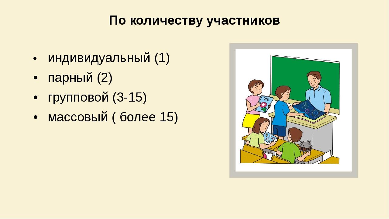 По количеству участников •индивидуальный (1) •парный (2) •групповой (3-15)...