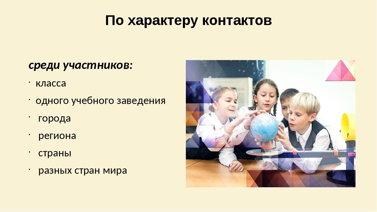 По характеру контактов среди участников: класса одного учебного заведения гор...