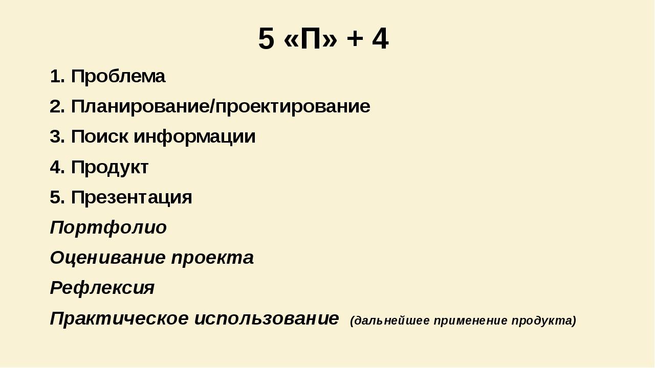 5 «П» + 4 1. Проблема 2. Планирование/проектирование 3. Поиск информации 4. П...