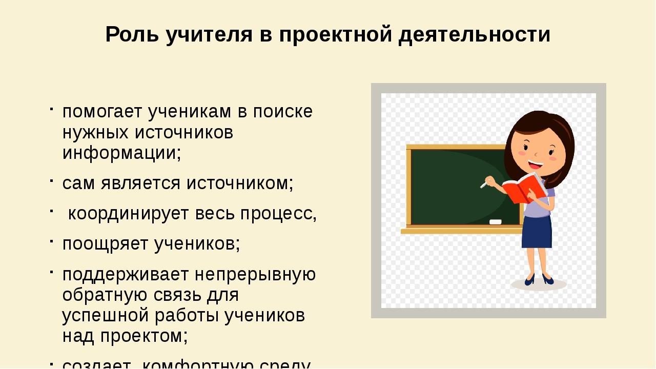 Роль учителя в проектной деятельности помогает ученикам в поиске нужных источ...