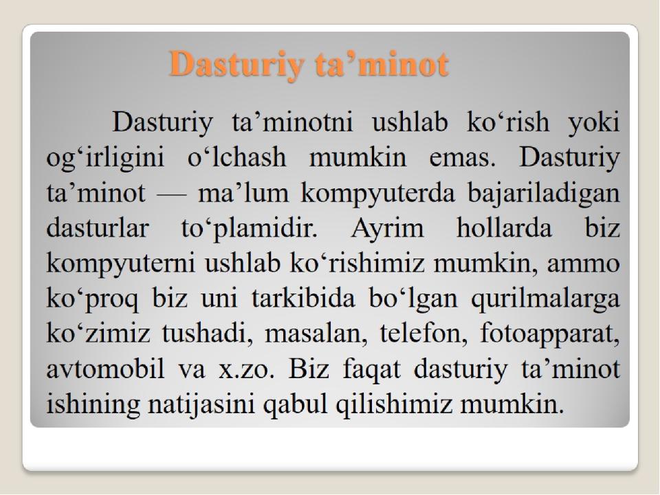 Dasturiy ta'minot