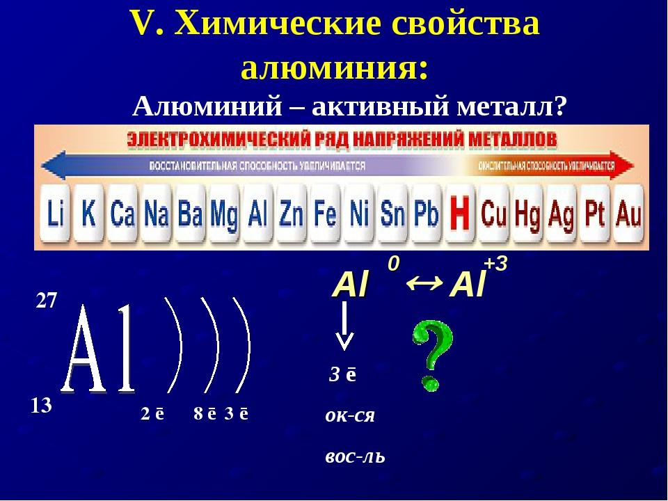 V. Химические свойства алюминия: Алюминий – активный металл? Al  Al +3 0 3 ē...