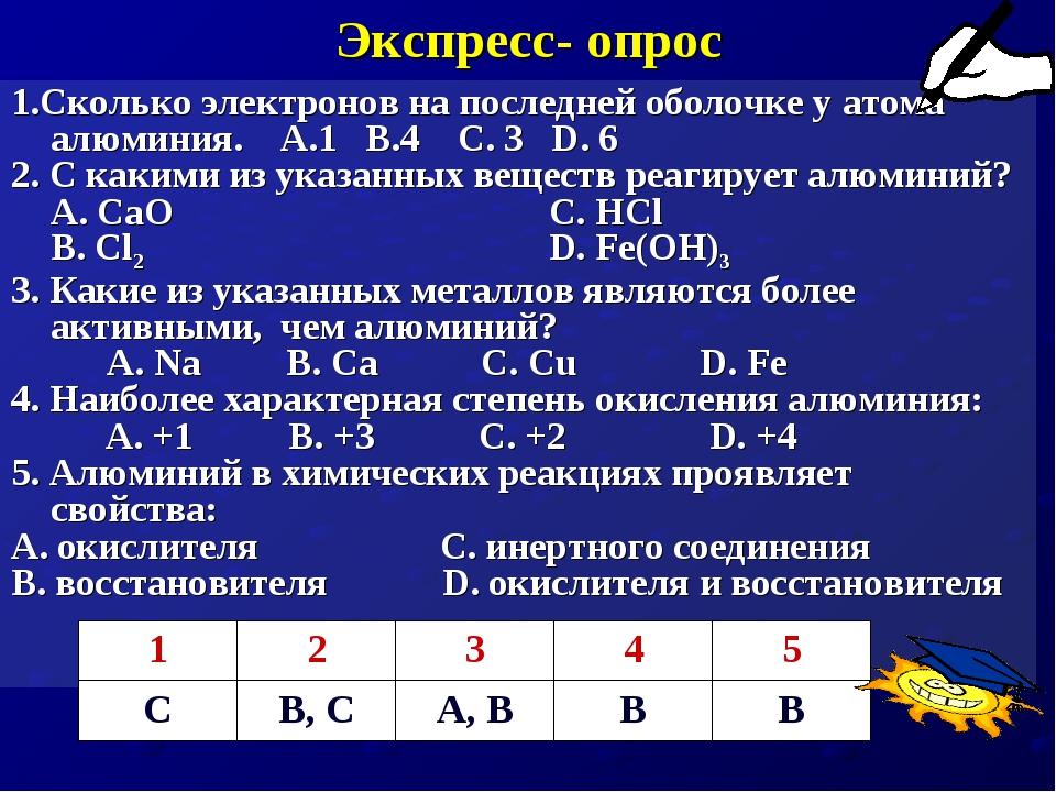 Экспресс- опрос 1.Сколько электронов на последней оболочке у атома алюминия....