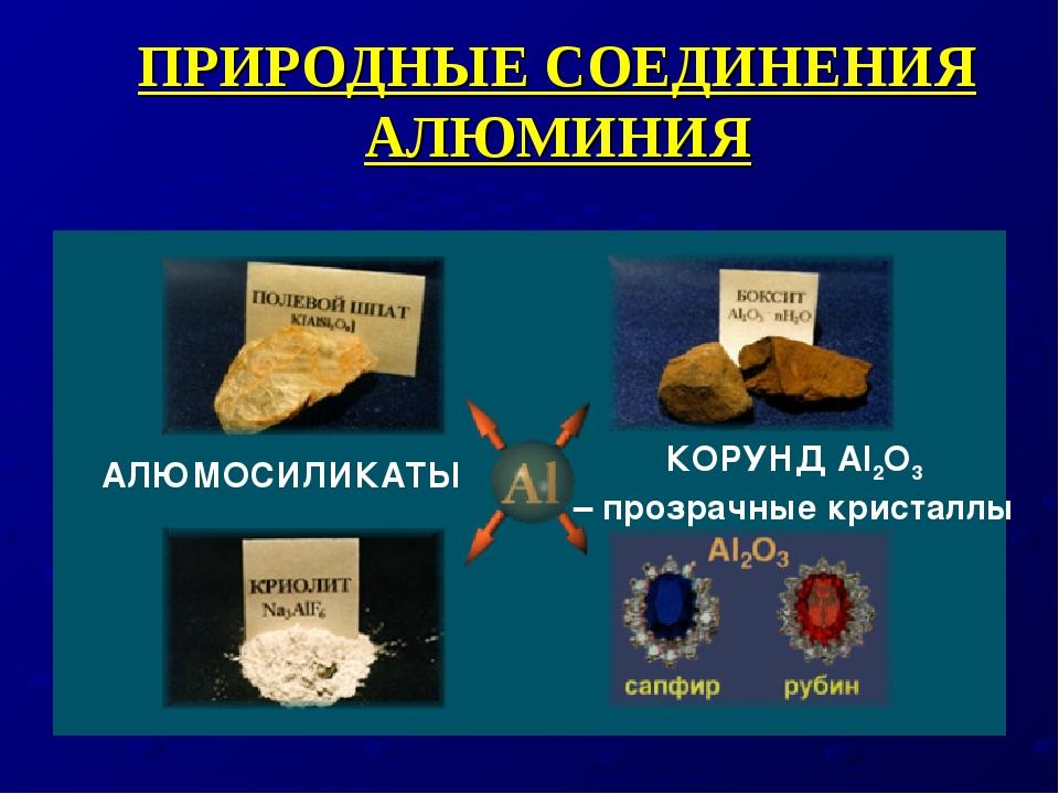 ПРИРОДНЫЕ СОЕДИНЕНИЯ АЛЮМИНИЯ АЛЮМОСИЛИКАТЫ КОРУНД Al2O3 – прозрачные кристаллы