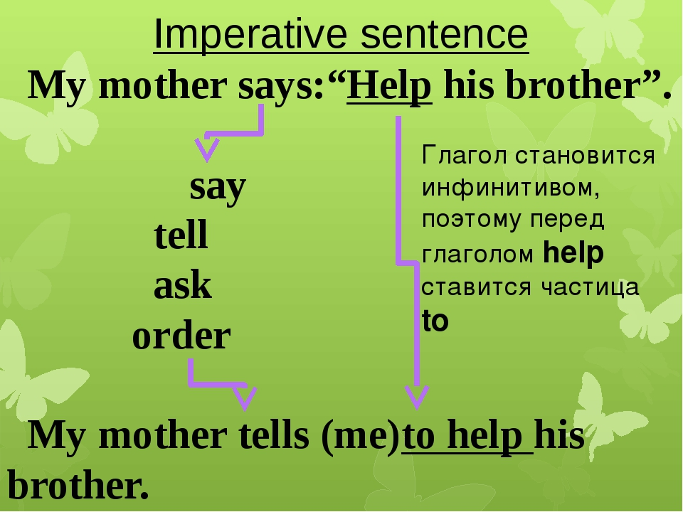 """Imperative sentence My mother says:""""Help his brother"""". say tell ask order My..."""