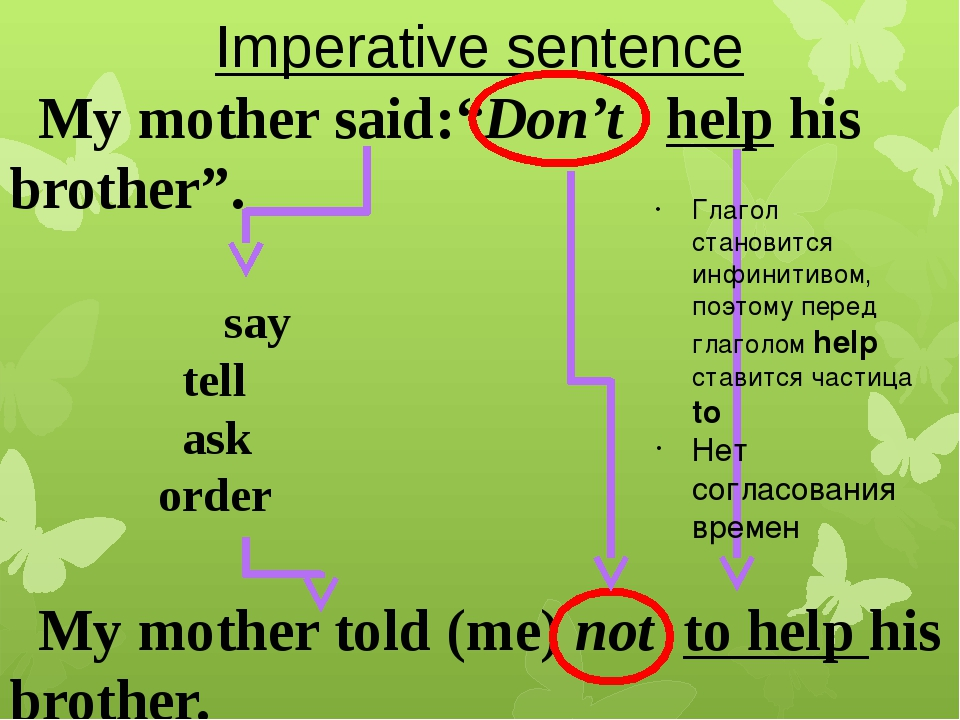 """Imperative sentence My mother said:""""Don't help his brother"""". say tell ask ord..."""