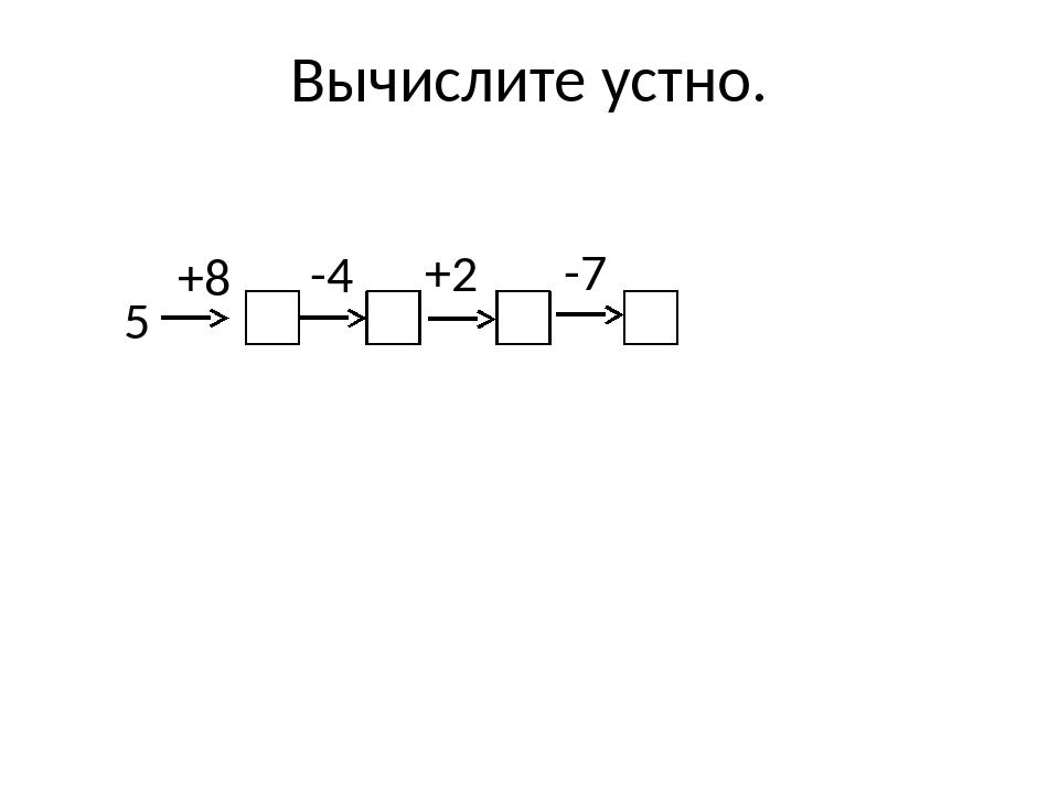 Вычислите устно. 5 +8 -4 +2 -7