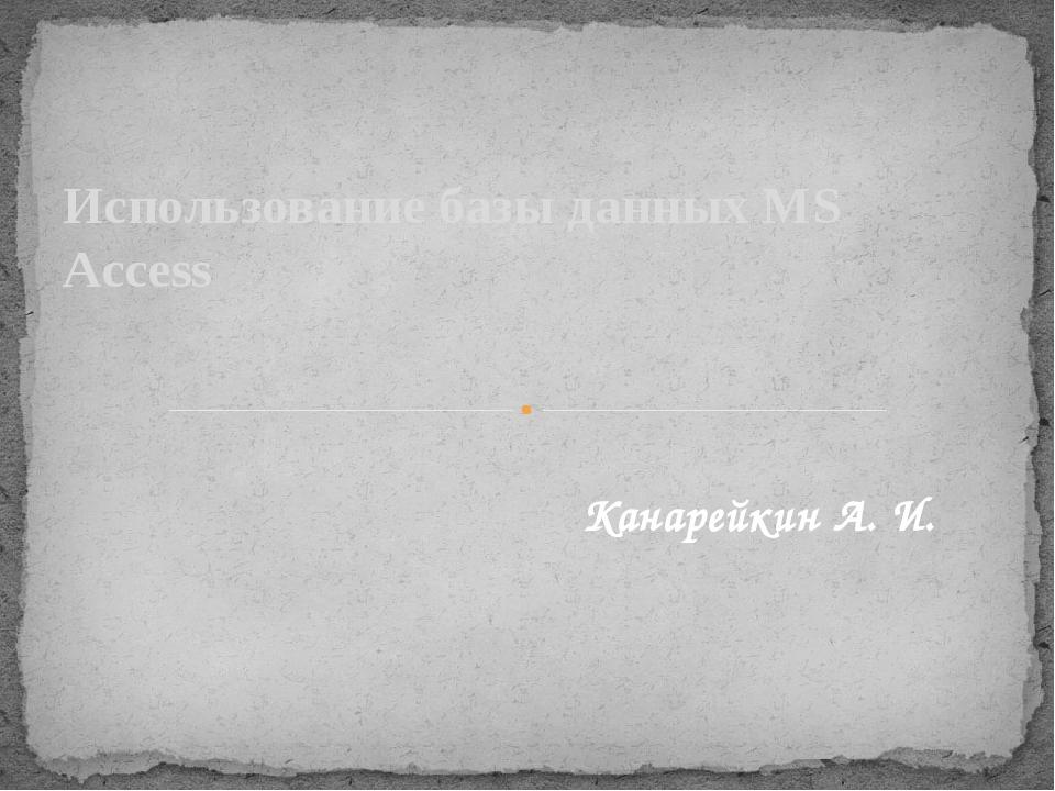 Использование базы данных MS Access Канарейкин А. И.