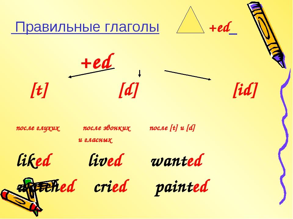 Правильные глаголы +ed +ed [t] [d] [id] после глухих после звонких после [t]...