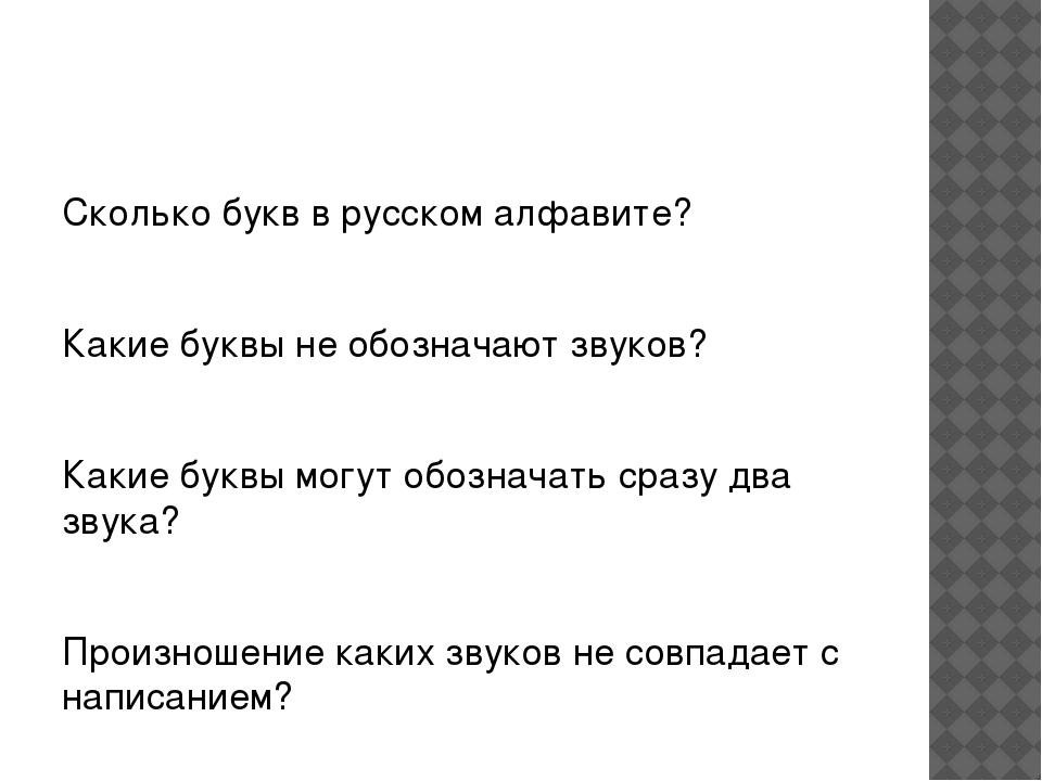 Сколько букв в русском алфавите? Какие буквы не обозначают звуков? Какие бук...