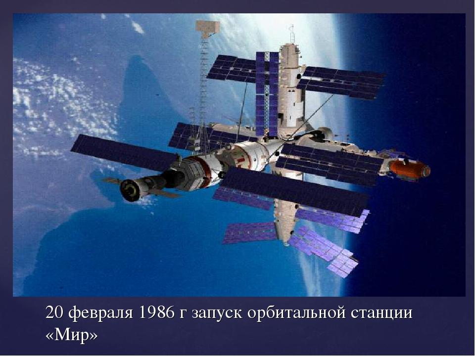 20 февраля 1986 г запуск орбитальной станции «Мир»