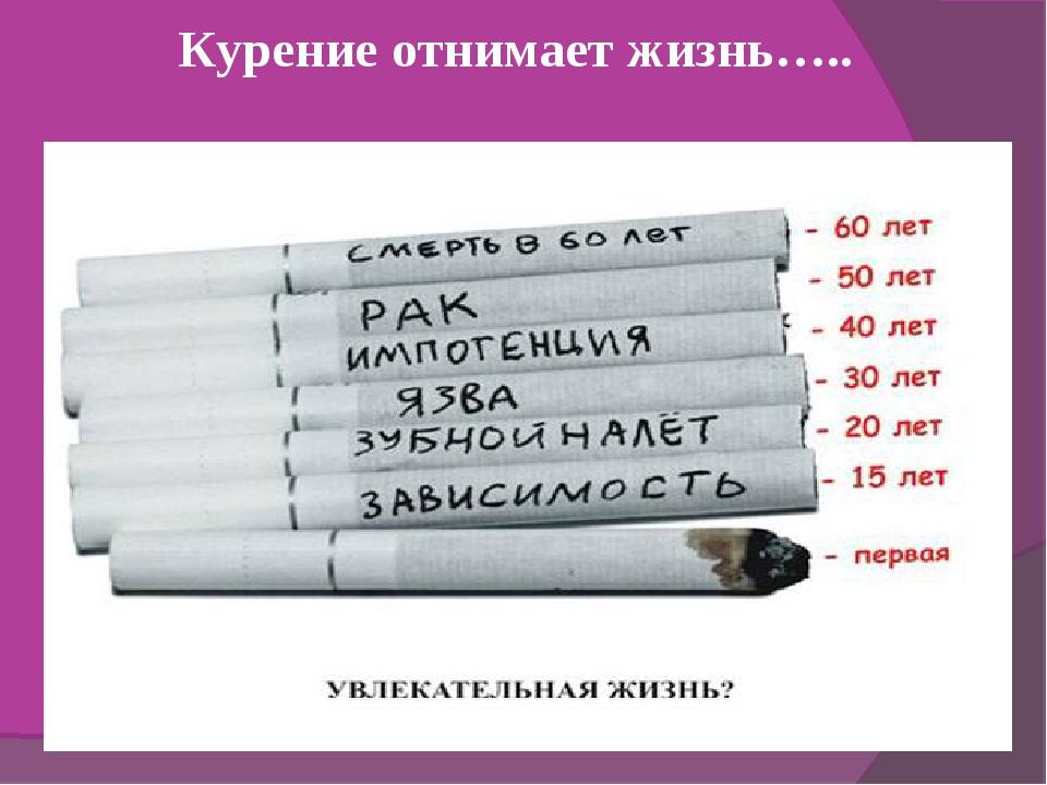 Курение отнимает жизнь…..