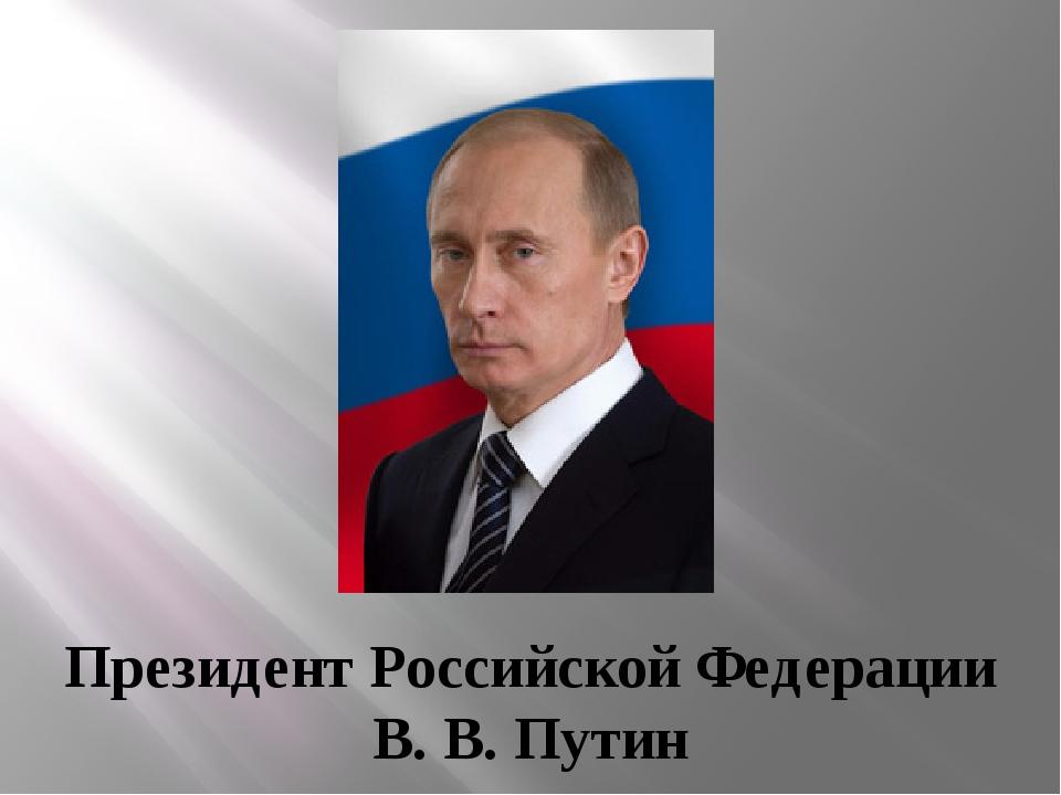 Президент Российской Федерации В. В. Путин