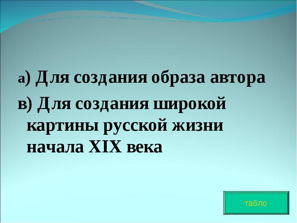 а) Для создания образа автора в) Для создания широкой картины русской жизни н...