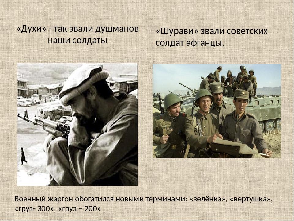 «Духи» - так звали душманов наши солдаты Военный жаргон обогатился новыми тер...