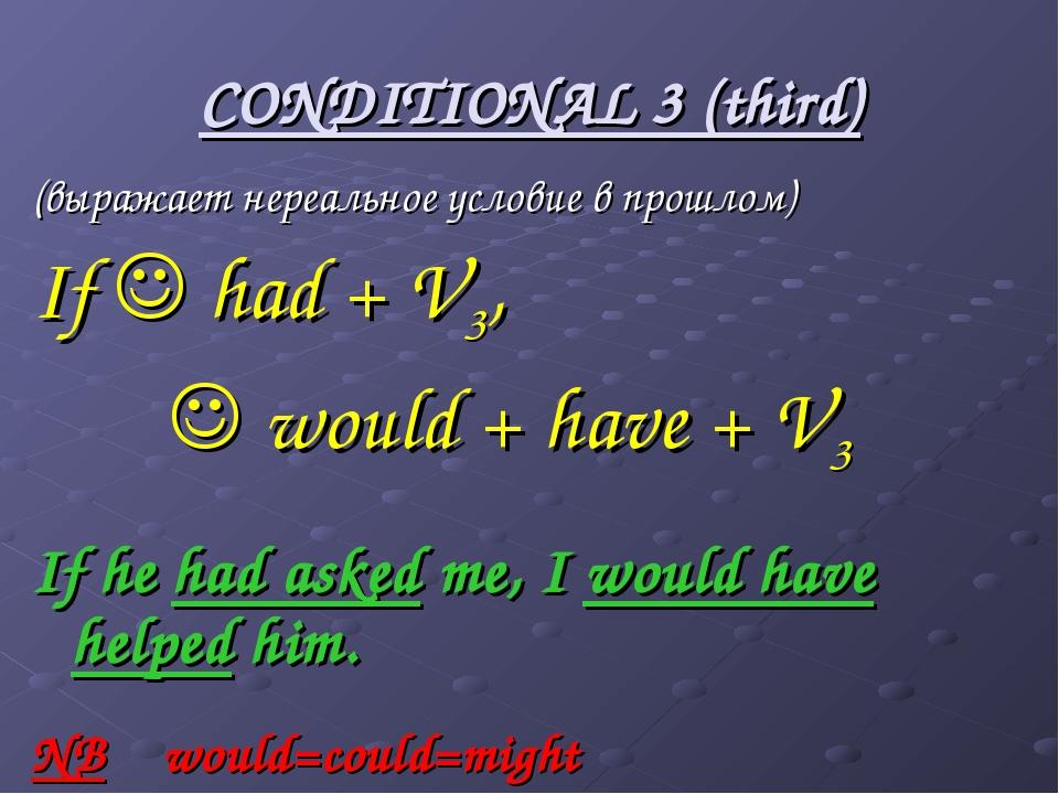 CONDITIONAL 3 (third) (выражает нереальное условие в прошлом) If  had + V3,...