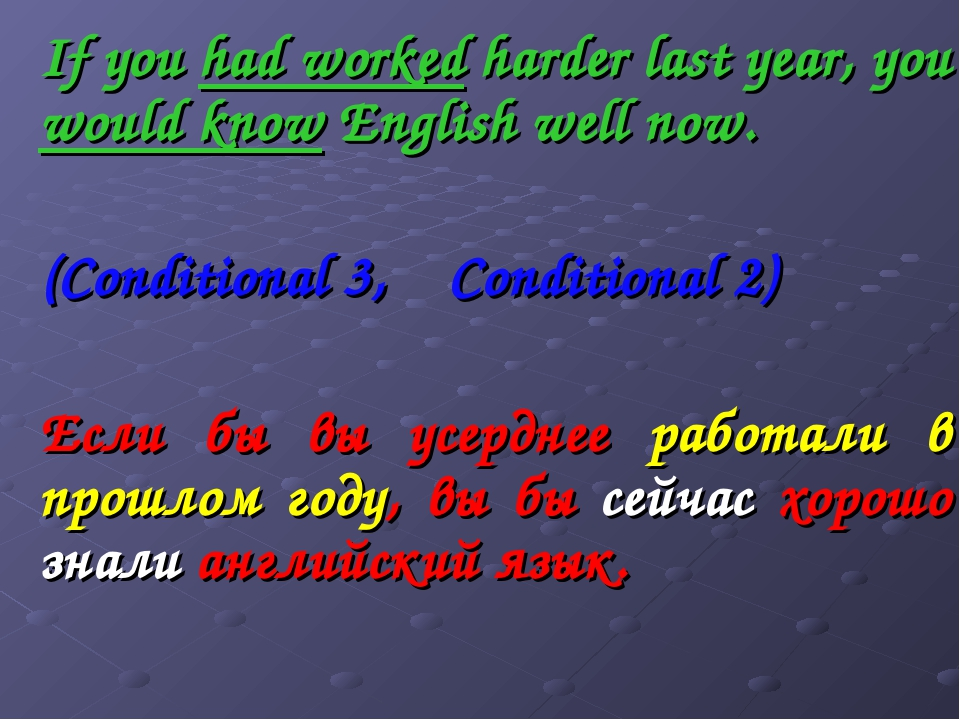 If you had worked harder last year, you would know English well now. (Conditi...