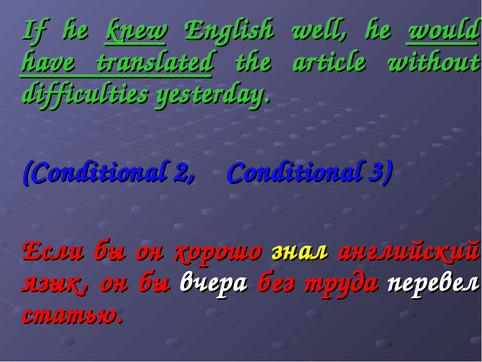 If he knew English well, he would have translated the article without difficu...