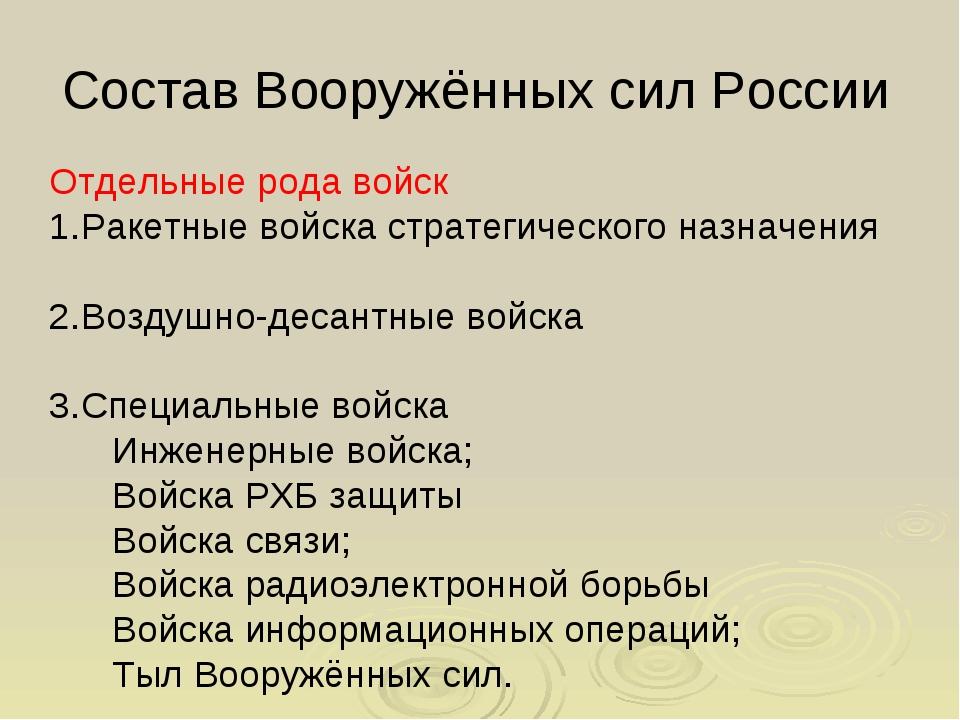 Состав Вооружённых сил России Отдельные рода войск Ракетные войска стратегиче...