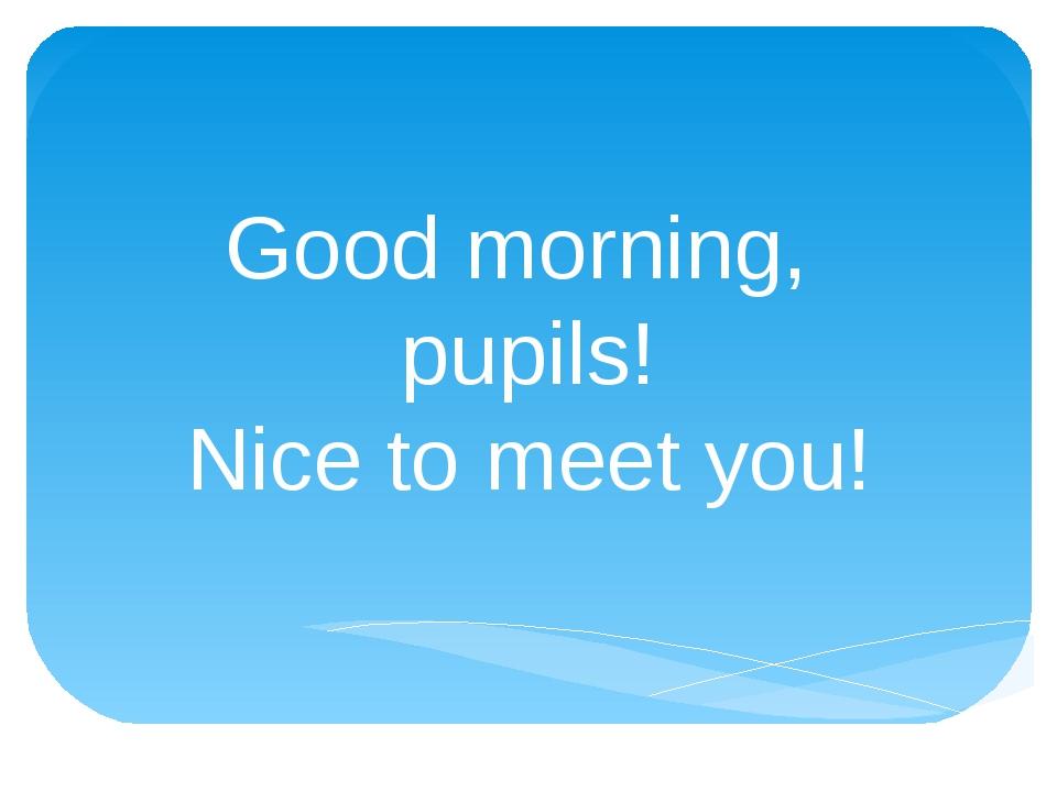 Good morning, pupils! Nice to meet you!