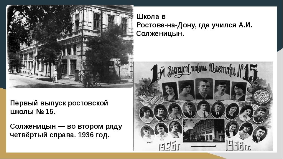 Школа в Ростове-на-Дону, где учился А.И. Солженицын. Первый выпуск ростовской...