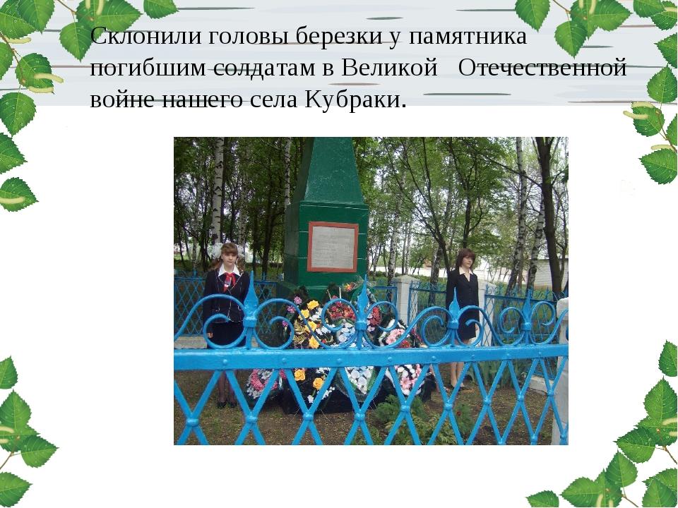 Склонили головы березки у памятника погибшим солдатам в Великой Отечественной...