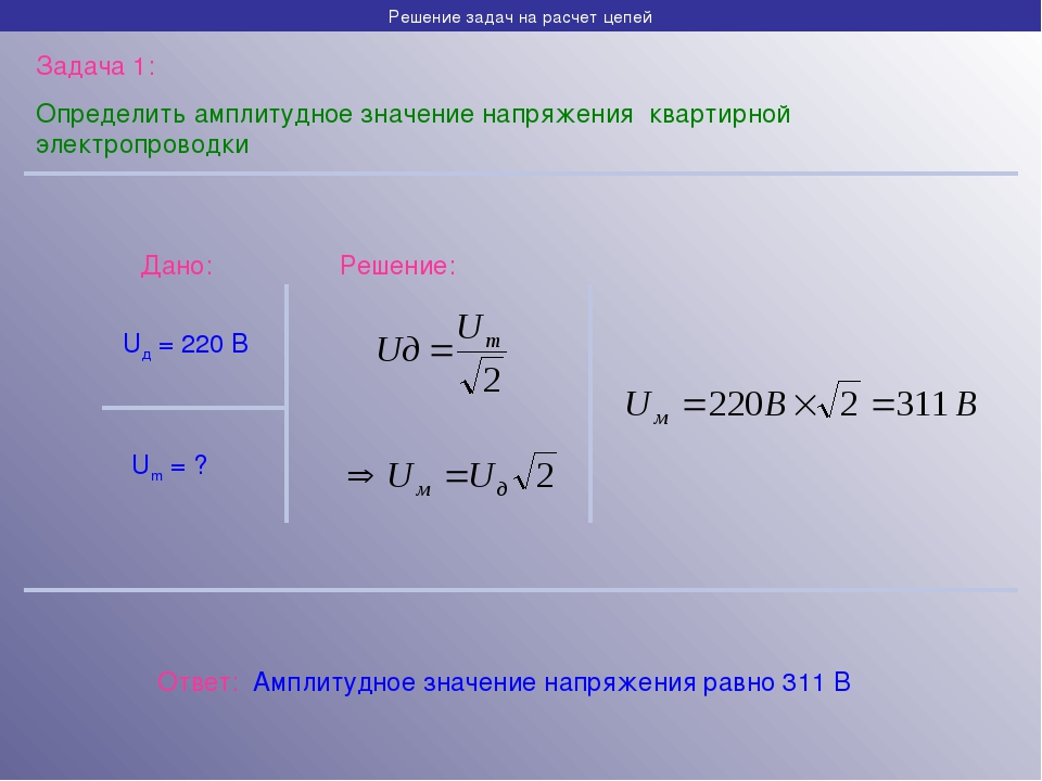 Решение задач на расчет цепей Задача 1: Определить амплитудное значение напря...