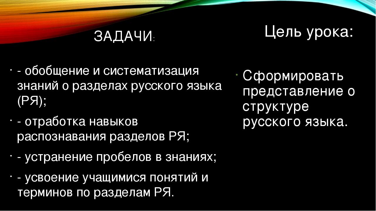 Цель урока: - обобщение и систематизация знаний о разделах русского языка (РЯ...