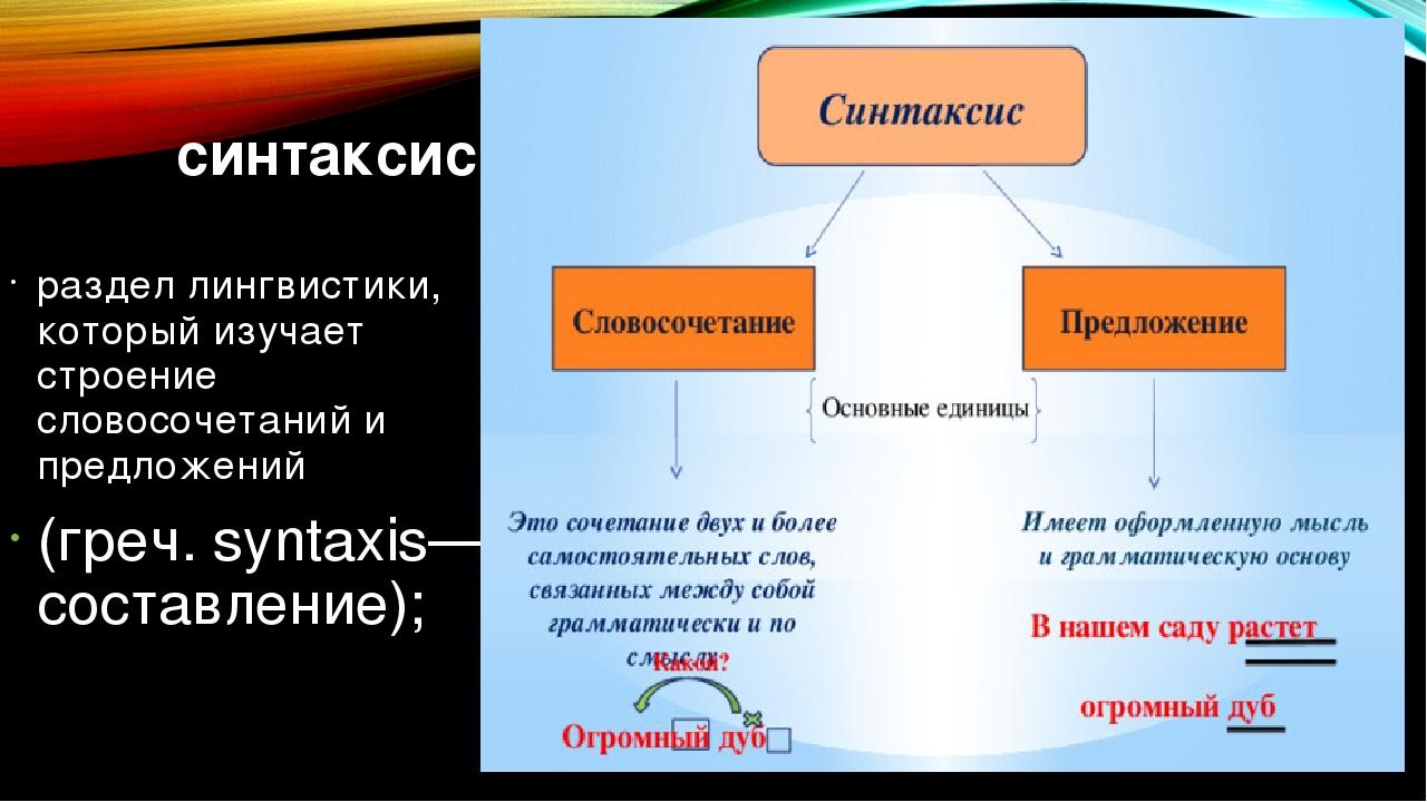 синтаксис раздел лингвистики, который изучает строение словосочетаний и пред...
