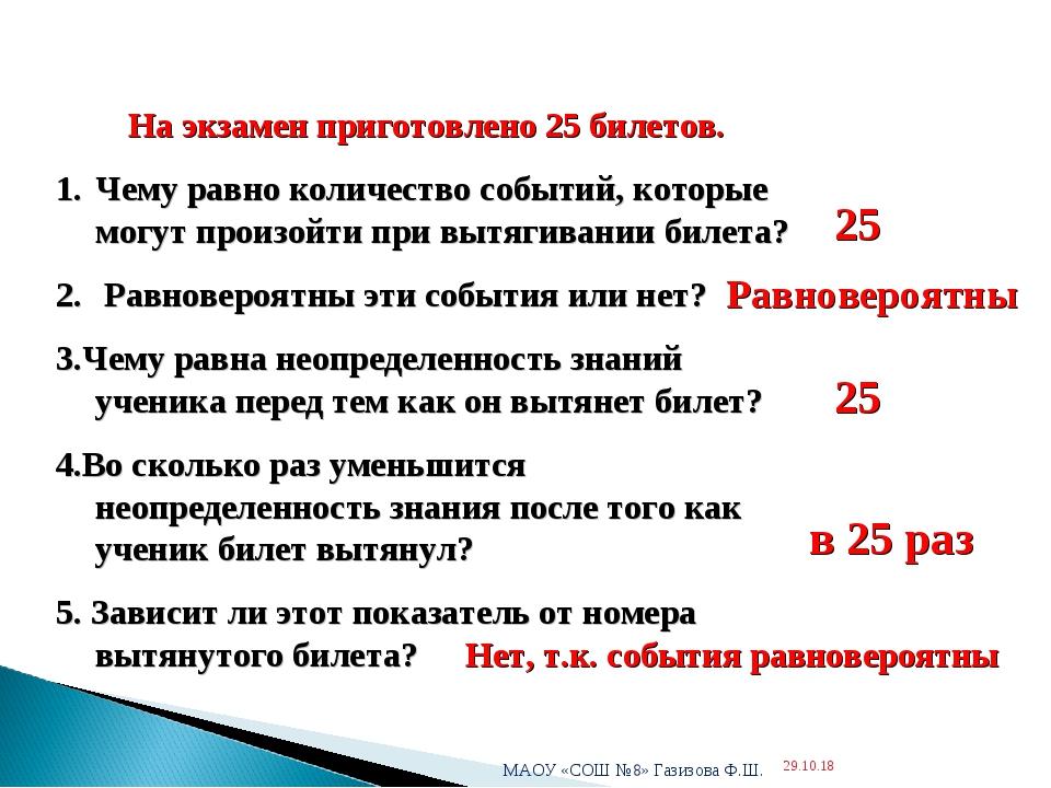 * МАОУ «СОШ №8» Газизова Ф.Ш. * На экзамен приготовлено 25 билетов. Чему равн...